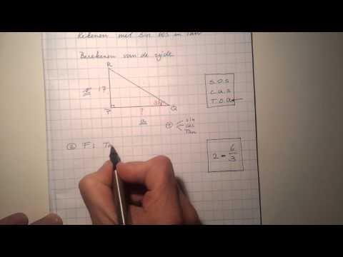 Rekenen met SIN COS en TAN: berekenen van de zijde 2.