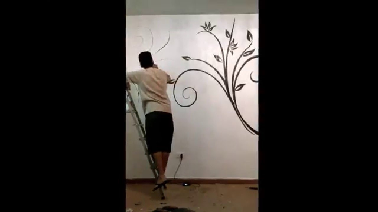 Pintura decorativa em parede sala youtube - Pinturas especiales para paredes ...