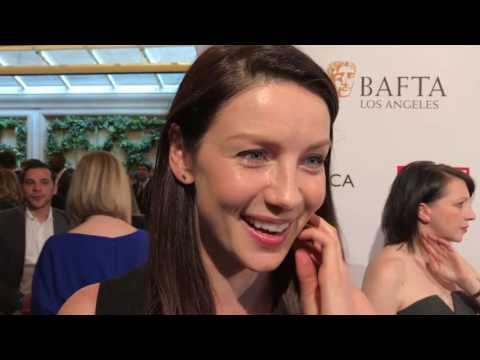 Thumbnail: Caitriona Balfe ('Outlander') on 2017 BAFTA tea party red carpet the day before the Golden Globes