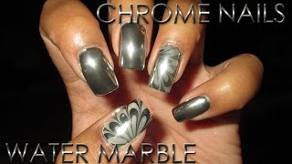 Chrome Nails With Chrome Water Marble Accent | Diy Nail Art Tutorial