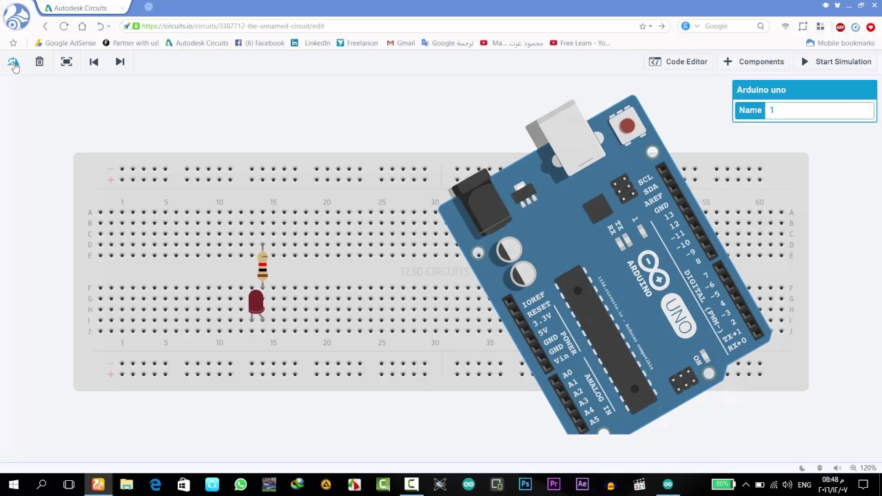 007 Connecting the circuit on a test board . test code Arduino - YouTube