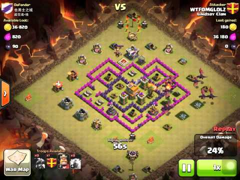 Clash of Clan Town Hall 7 dragon attack. How to funnel