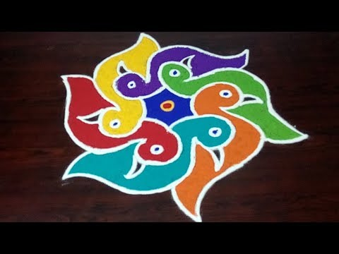 Easy Birds Rangoli With 5 x 3 Dots ||  How To Draw Birds Kolam Easily || Fashion World