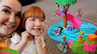 Surprise JUNGLE BiRTHDAY!!  Adley & Mom play pretend as Barbie & Chelsea! Dad is our pet Monkey 🐒