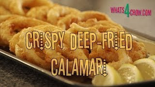 Crispy Deep-fried Calamari Rings. How To Make Crisp Fried Calamari. Deep-fried Calamari Recipe.
