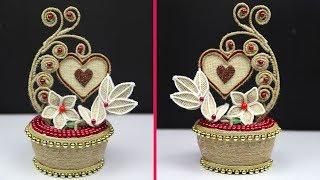 DIY unique jute flower showpiece vase | jute rope craft idea | jute art