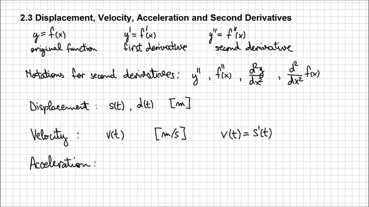 23 Displacement Velocity Acceleration And Second Derivatives