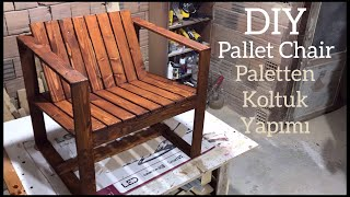 Paletten koltuk yapımı / Making a chair from pallets / Armchair diy / Wooden chair design ideas