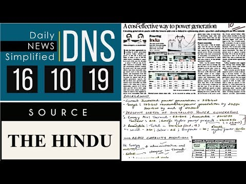 Daily News Simplified 16-10-19 (The Hindu Newspaper - Current Affairs - Analysis for UPSC/IAS Exam)