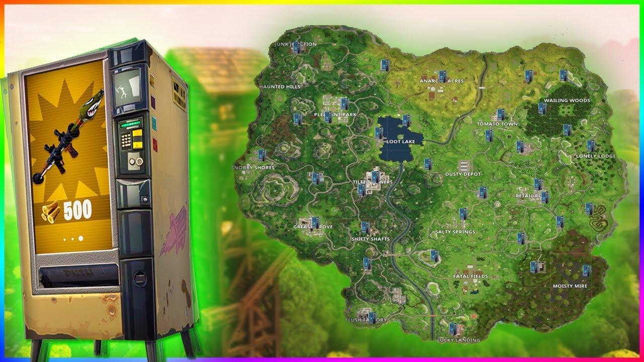 les emplacements des distributeurs d armes sur fortnite battle royale - map fortnite distributeur saison 5