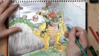 How to Draw Bowser and Bowser Jr. (Super Mario Galaxy)