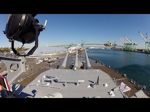 Army UH-72 Helicopter Lands on Battleship USS Iowa - 07 Nov 2015