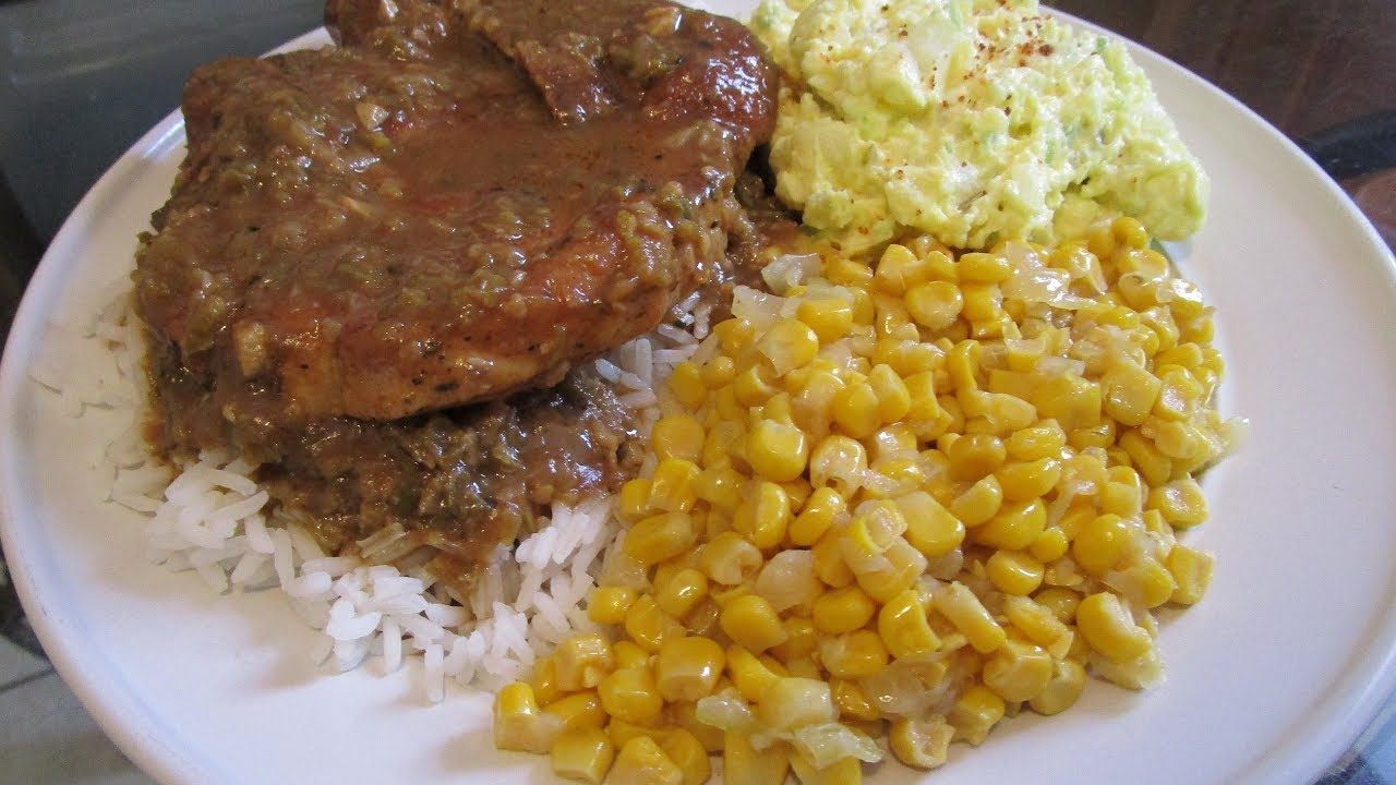 How to make smothered pork chops with brown gravy rice corn and how to make smothered pork chops with brown gravy rice corn and potato salad ccuart Gallery