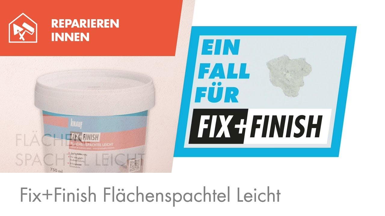 knauf fix+finish flächenspachtel leicht - youtube