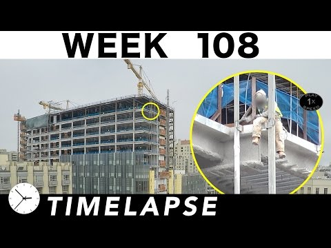 Construction time-lapse with 26 closeups: Week 108: Glass curtain wall, cranes, welding, more