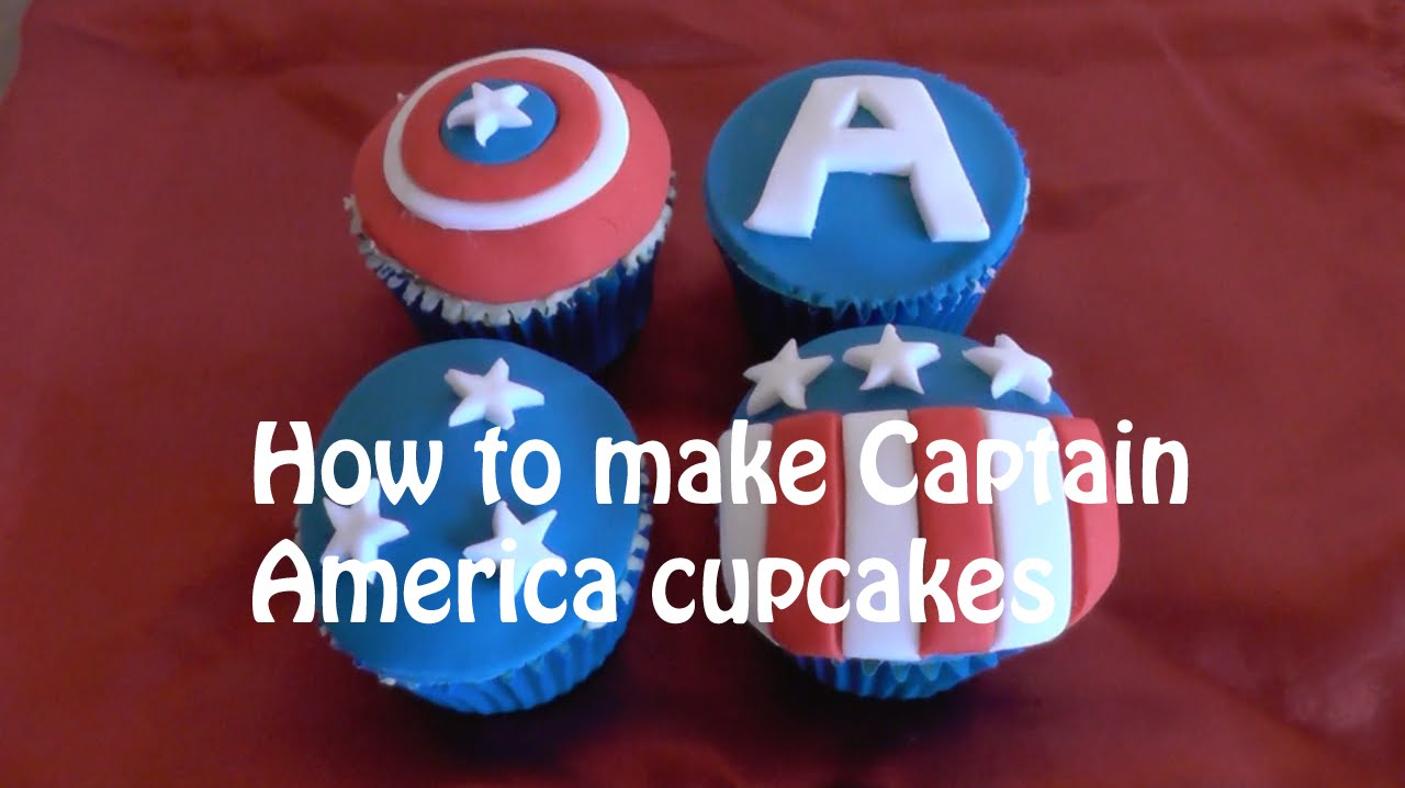How to make Captain America cupcakes Marvel cupcakes YouTube