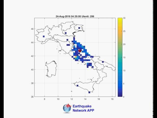 Terremoto Centro Italia 24 agosto 2016 - Accessi app Earthquake Network