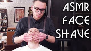 💈 Young Italian Barber - Face Shave with razor - short face Massage - ASMR no talking