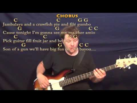 Jambalaya (Hank Williams) Bass Guitar Cover Lesson in C with Chords/Lyrics - C G