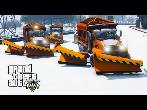 GTA 5 Mod First Day Of Snow Sanitation Snow Plow & Salter Spreader Convoy Plowing Snow In Los Santos