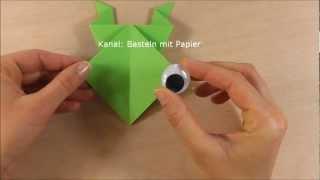 Frosch falten - Origami Frosch basteln - Faltanleitung - Basteln mit Kindern