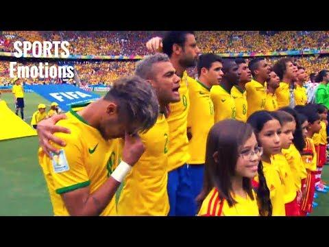 Neymar CRIES, Thiago Silva, Dani Alves, David Luiz in trance - Brazil Anthem in 2014 World Cup -