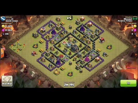 Clash of Clans TH9 vs TH9 Golem, Wizard & Pekka (GoWiPe) Clan War 3 Star Attack