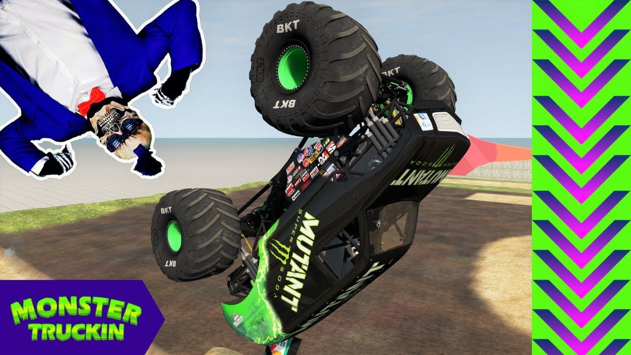 Monster Jam INSANE Backflips and Crashes #3   BeamNG Drive