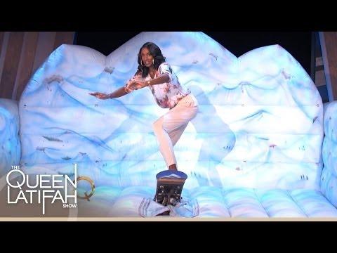 Lisa Leslie Shows Off Her Snowboarding Skills
