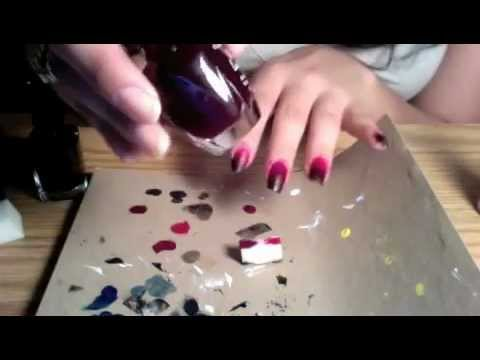 Red To Black Gradiant Nail Tutorial