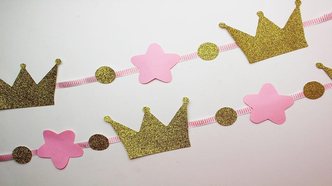 Coronas Para Decorar Cumpleanos.Guirnalda De Coronas Para Fiesta Tematica Princesas