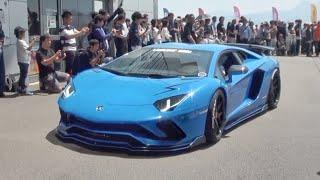 約100台のスーパーカーが富士に登場/100 Supercars sound in Japan. Ferrari, Lamborghini, Porsche, Aston, and more