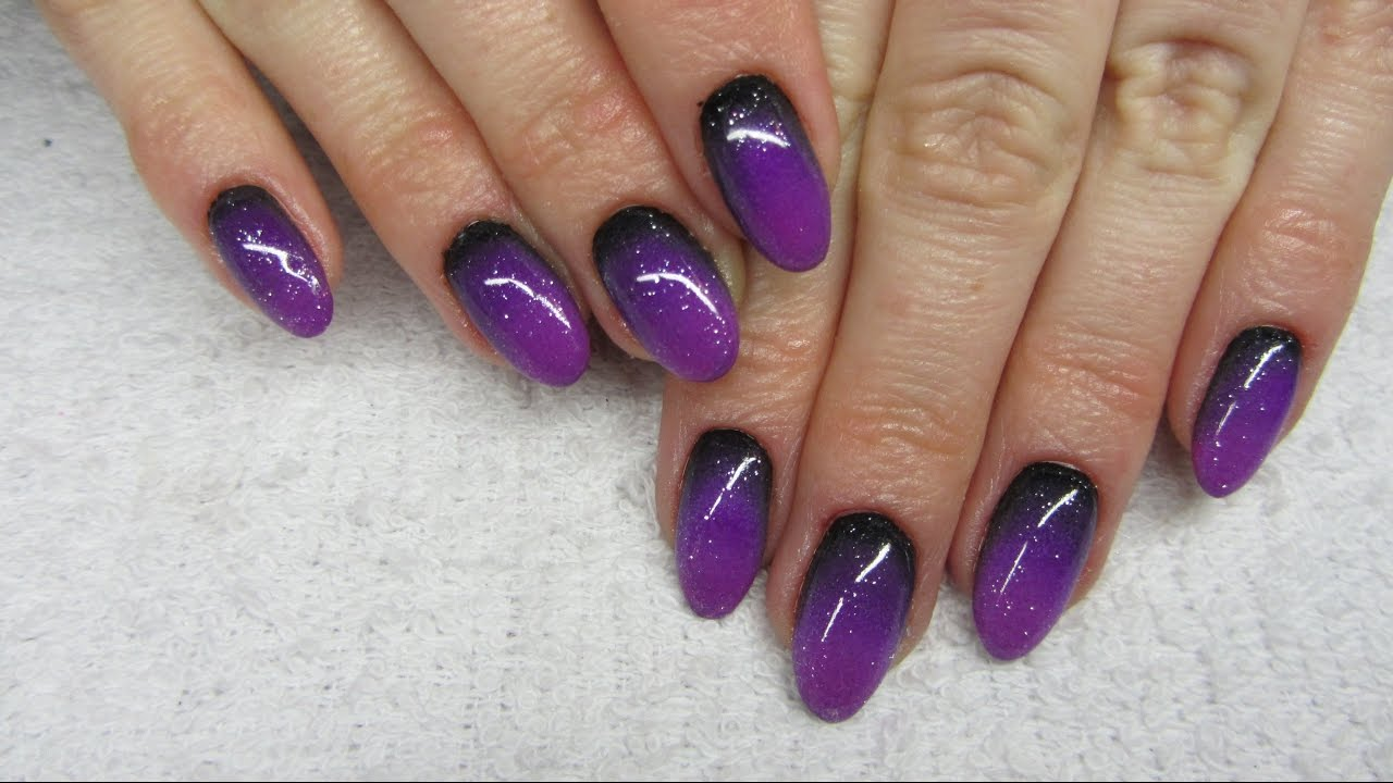 Dark Black Purple Ombre Ciemne Ombre Na Paznokciach Youtube