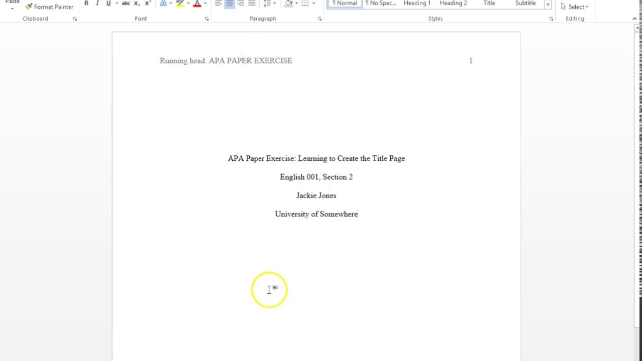 sample title page in apa format