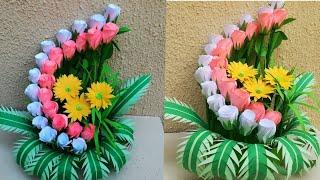 How To Make Paper Flower Bouquet // Paper Flower Pot // DIY room decor 2019 // floral decoration