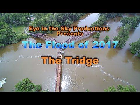 2017 Flood - Midland, MI *  4k Drone Footage *Water Almost breaching Tridge* Eye in the Sky