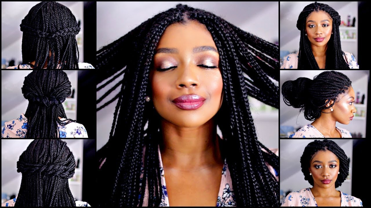 10 QUICK AND EASY BOX BRAID HAIRSTYLES - YouTube