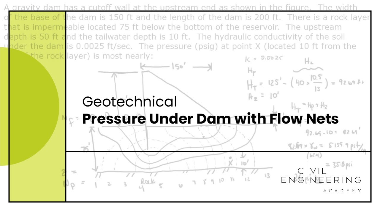 GeotechnicalPressure Under Dam with Flow Nets  YouTube
