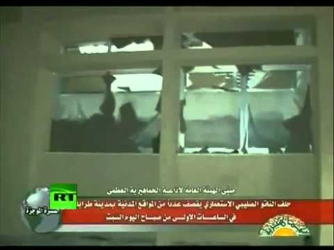 Libya / Tripoli: NATO war crimes - air strike on Libyan television, 30 July 2011, first pictures