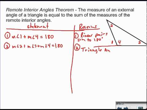 Remote interior angles theorem proof youtube - Define exterior angle of a polygon ...