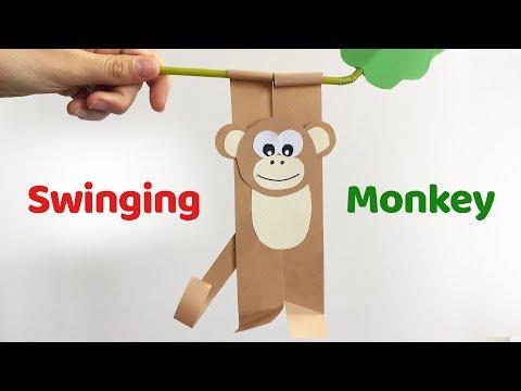 Fun crafts for kids SWINGING MONKEY easy paper DIY