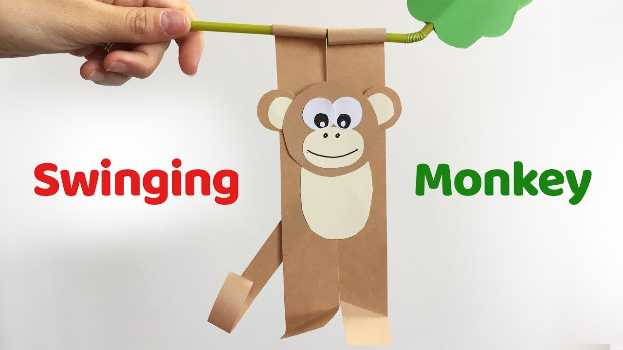 Fun Crafts For Kids Swinging Monkey Easy Paper Diy Youtube