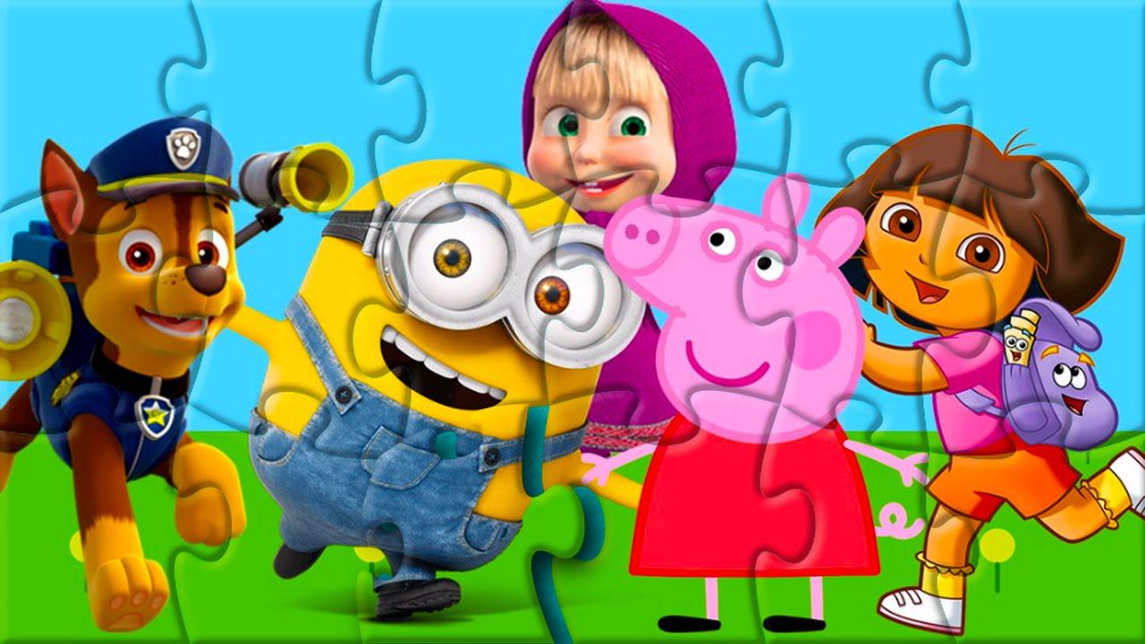 ROMPECABEZA Paw Patrol Minions Peppa Pig Dora Masha Y El Oso Puzzle Game Online