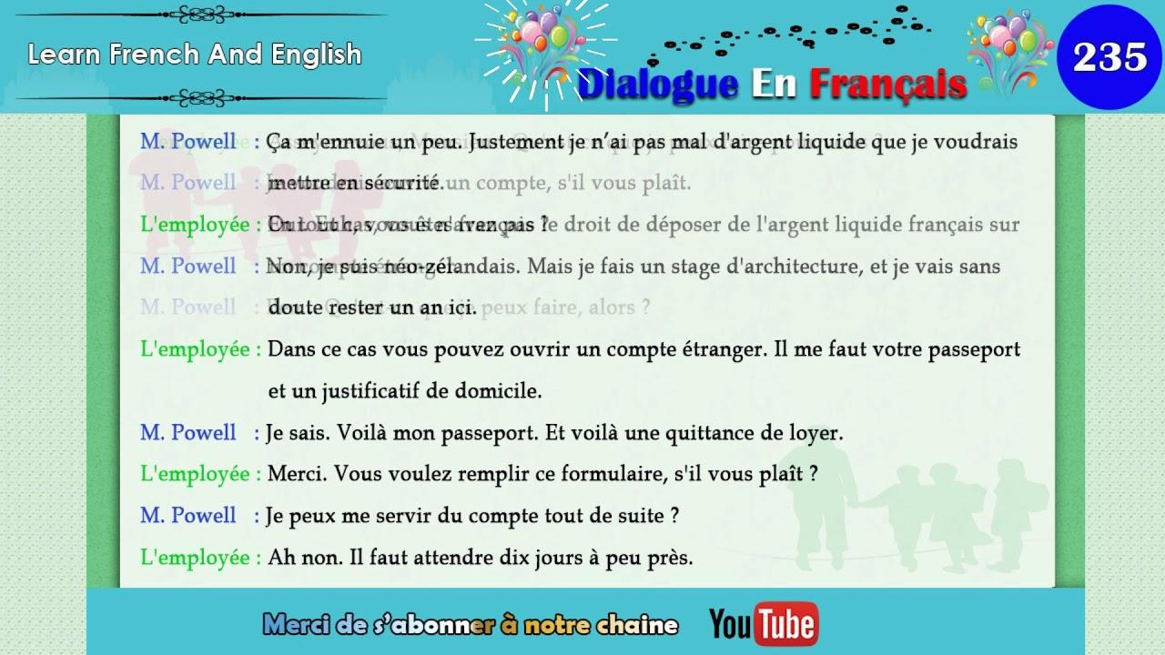 dialogue en français N° 235   YouTube