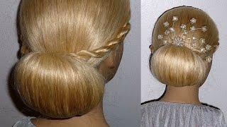 Причёска на выпускной,вечерняя причёска,свадебная причёска на средние,длинные волосы.Пучок из волос