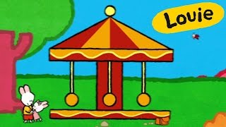 Merry-go-round - Louie draw me a merry-go-round | Learn to draw, cartoon for children