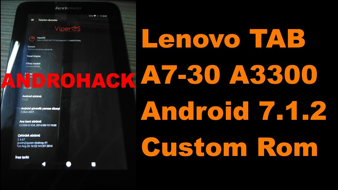 Lenovo TAB A7-30 A3300 Android 7 1 2 custom rom viper os