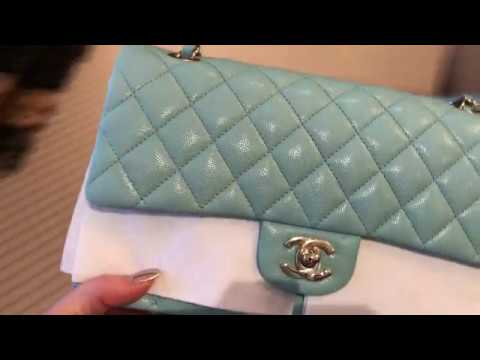 0ef8987bd3253f CHANEL 19C TIFFANY LIGHT BLUE COLOR COMPARISON - YouTube