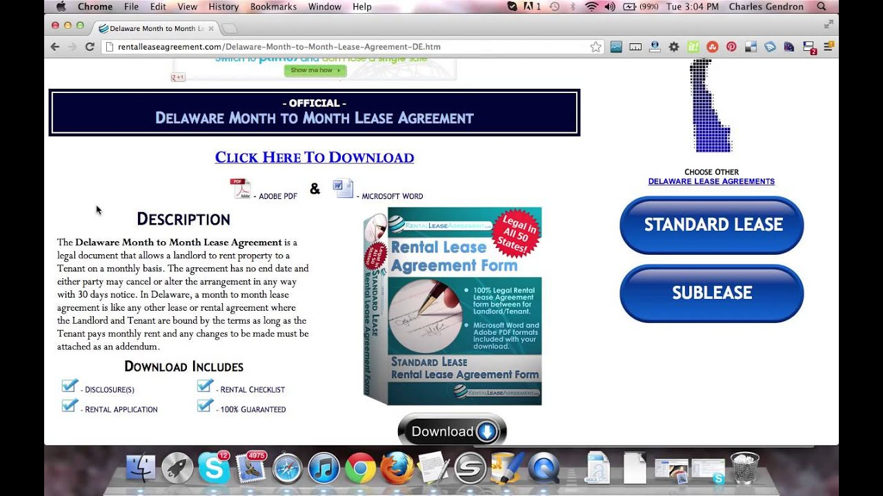 Delaware Month To Month Rental Agreement