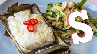 Banana Leaf Baked Cod With Courgetti Recipe - Performance Food